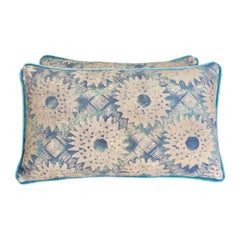 Pair of Fortuny Sunflower Kidney Size Pillows