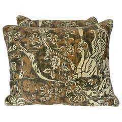 Pair of Fortuny Textile Pillows w/ Sphinxes