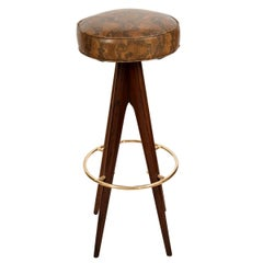 Pair of Four-Leg Wood Stools with Snake Skin Upholstered Seats and Brass Details