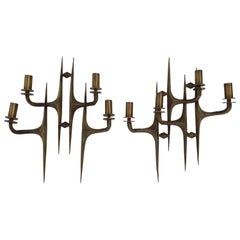 Pair of Four Light Mid-Century Modern Brutalist Sconces, Italy, circa 1960s