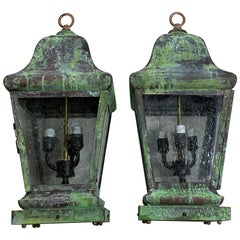 Pair of Four Sides Quality Solid  Brass Hanging Lanterns