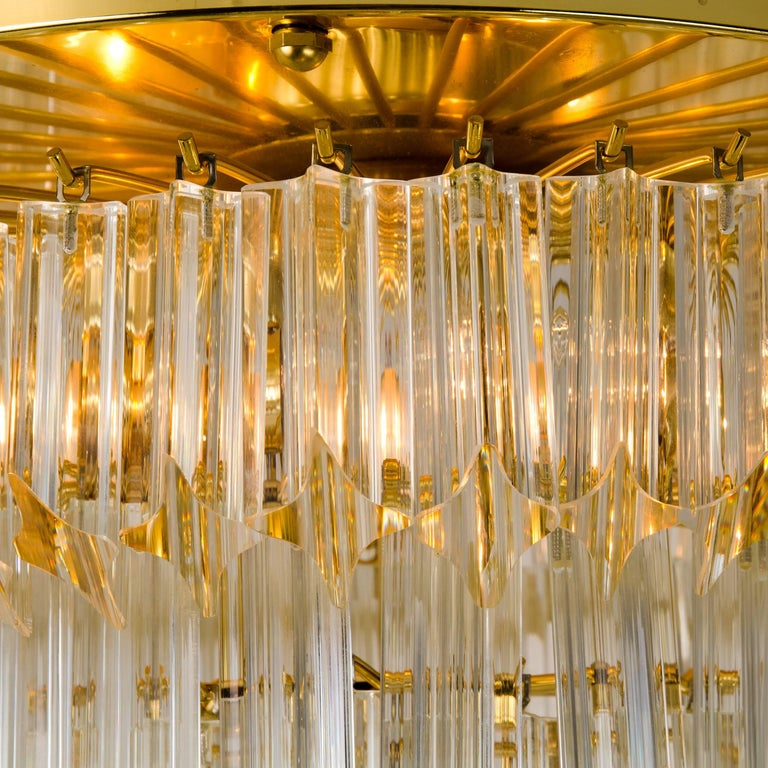 Mid-Century Modern Pair of Four-Tiered Venini Murano 'Astra Quadrilobo' Chandeliers, Italy, 1960 For Sale