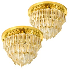 Pair of Four-Tiered Venini Murano 'Astra Quadrilobo' Chandeliers, Italy, 1960