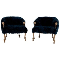 Pair of Fournier Style Navy Sheepskin Chairs
