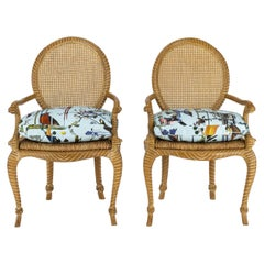 Pair of Fournier Style Rope Armchairs with Christian LaCroix Bird Seat Cushions