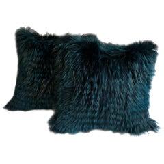 Pair of Fox Fur Pillows