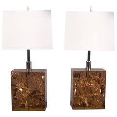 Pair of Fractal Resin Lamps, France, 1970s