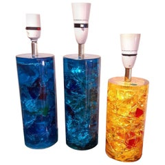 Set of 3 Fractal Resin Table Lamps, 1970s
