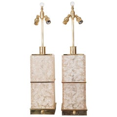 Pair of Fractured Resin and Brass Table Lamps