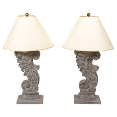 Pair of Fragment Baroque Architectural Fragment Table Lamps