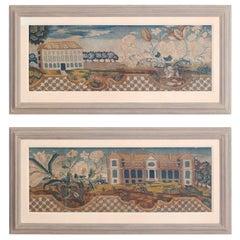 Pair of Framed Antique Handmade Tapestries