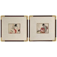 Pair of Framed Antique Japanese Shunga Paintings on Silk