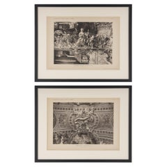 Pair of Framed Architectural Prints, Italy, Early 1900s