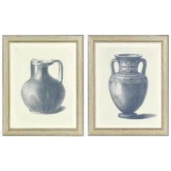 Pair of Framed Blue Urn Prints