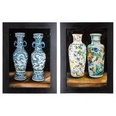Pair of Framed Eglomisé Chinese Vases