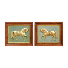 Pair of Framed English Gilt Bronze Horses Mounted on Green Velvet, circa 1850
