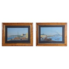 Pair of Framed Glazed Neapolitan Gouache Paintings