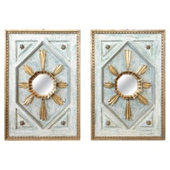 Pair of Framed Gold and Silver Leaf Italian Sunburst Mirrors with Gilt Fragments