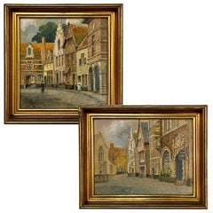 Pair of Framed Gouache Paintings by Jef Clerens