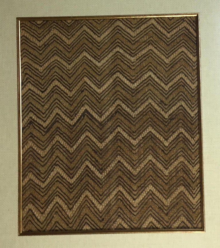 Pair Of Framed Handwoven Faffia Cloth From Congo For Sale