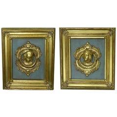 Pair of Framed Italian 23K Gold Leaf Renaissance Figures, 20th Century