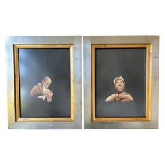 Pair of Framed Japanese Embroidery Art Portraits
