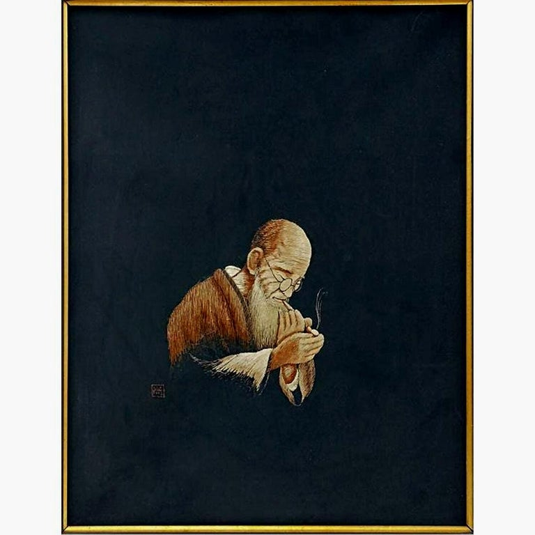 Artistically framed for display, these are a pair of embroidery art panels from Japan, circa 1910-1930s, end of Meiji and early Taisho period. This period was the peak of the Japanese oversea expositions, when all things Japonisme took Europe and
