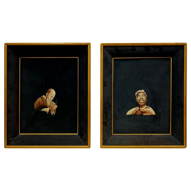 Pair of Framed Japanese Realistic Portrait of Embroidery Art