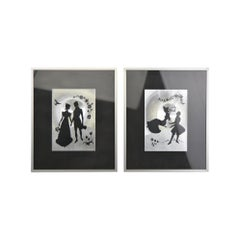 Pair of Framed Metallic Print Wall Art with Romantic Couple, 1960s