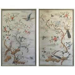 Pair of Framed Modern Midcentury Gracie Chinoiserie Wallpaper Panels