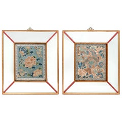 Pair of Framed Chinese Antique Embroidery Panels