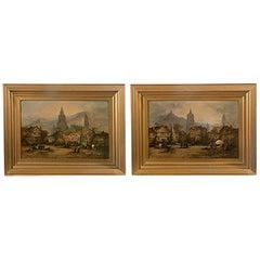 Pair of Framed Oil on Canvas Bavarian Market Scenes