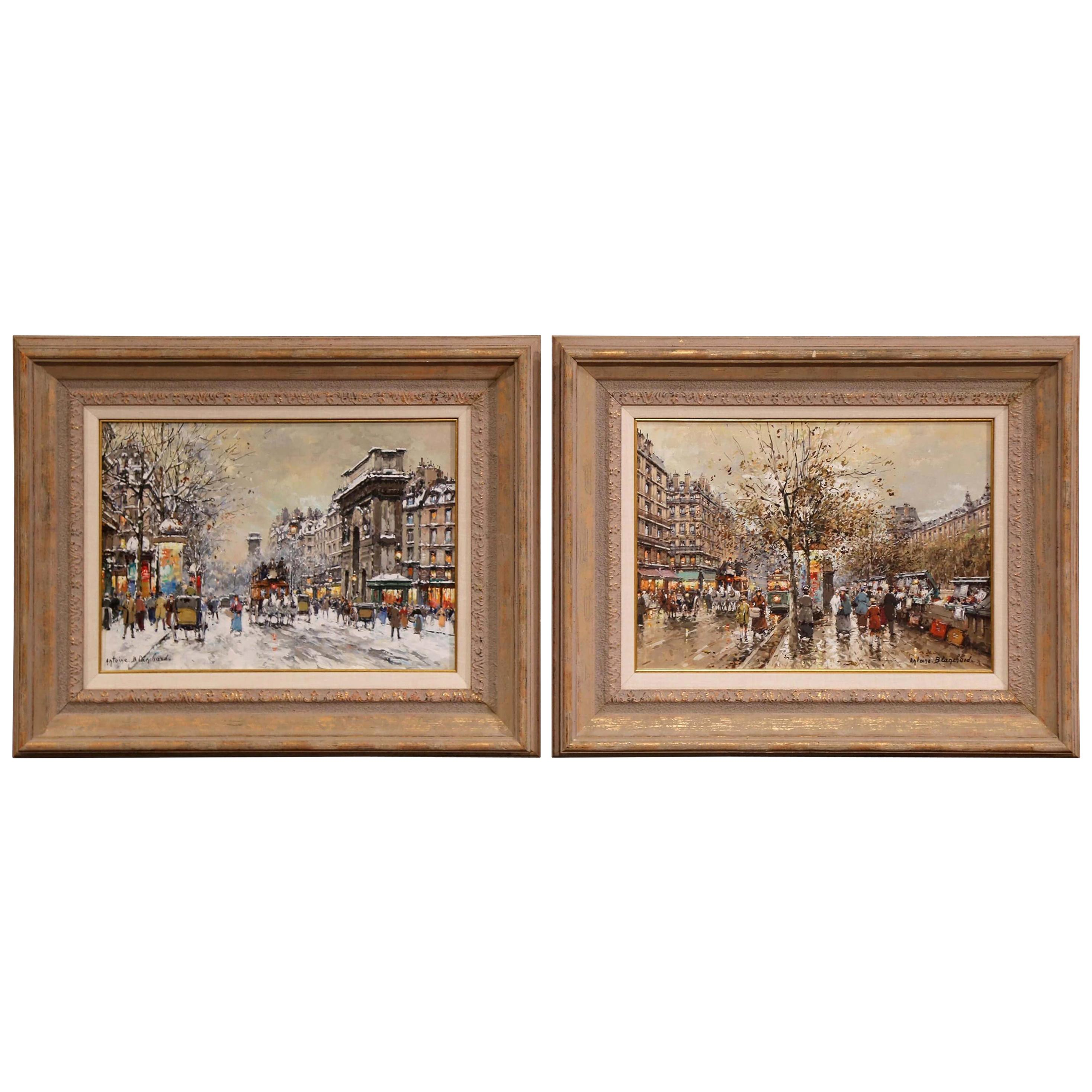 Pair of Framed Oil on Canvas Parisian Street Scenes Signed Antoine Blanchard