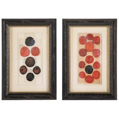 Pair of Framed Red and Black Wax Intaglio Seals