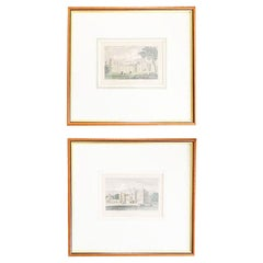 Pair of Framed Scottish Etchings or Lithographs of Historical Castles