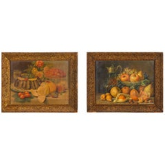 Pair of Framed Still Life Lithographs from Giuseppe Falchetti, Italy, 1900s