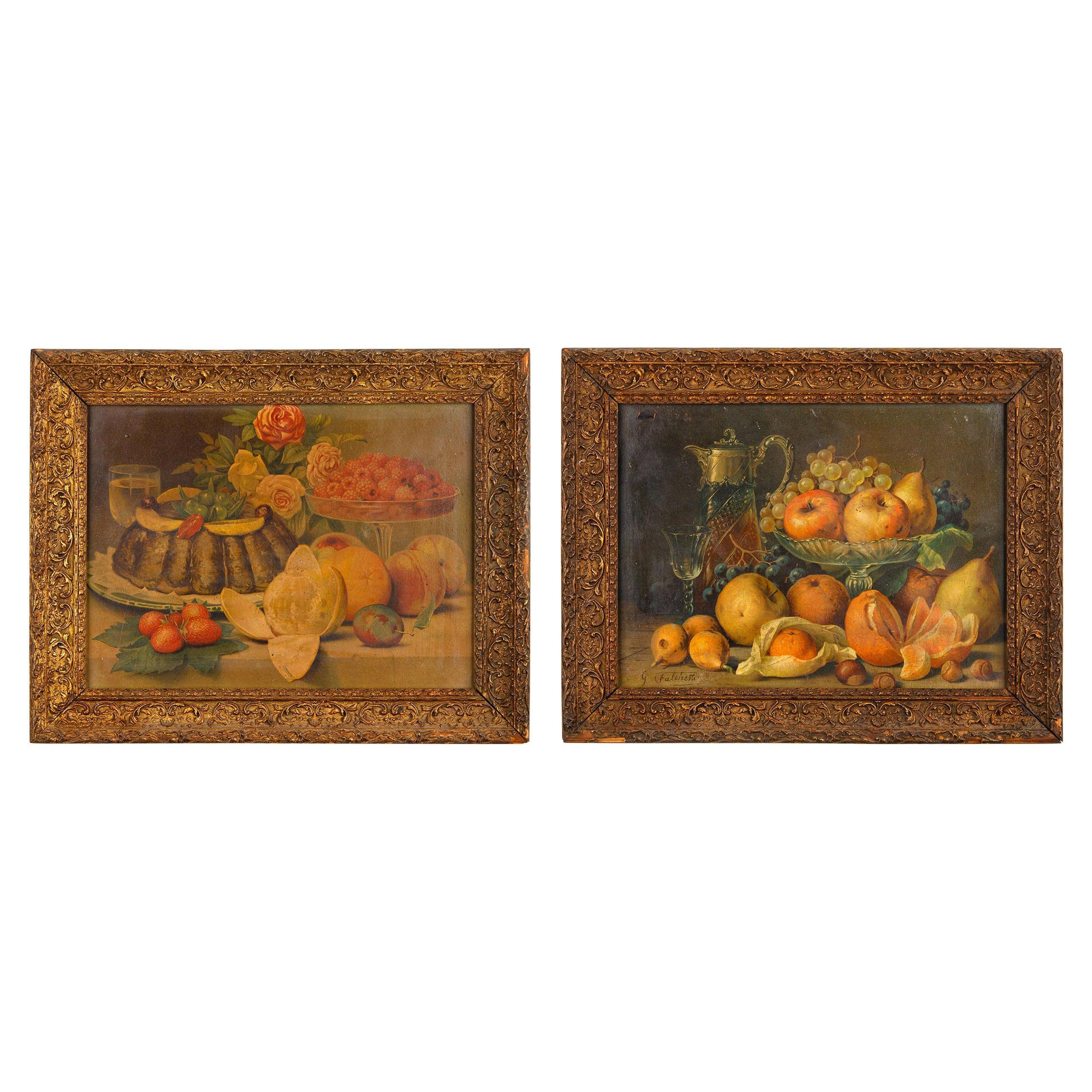 Pair of Framed Still Life Lithographs from Giuseppe Falchetti, Italy, 1900s