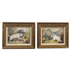 Pair of Framed Terriers on the Hunt