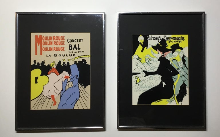Exceptional pair of print of famous French artist work, framed and ready to hang.