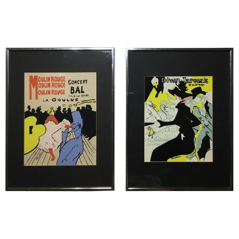 Pair of Framed Toulouse Lautrec Original Print For Sale