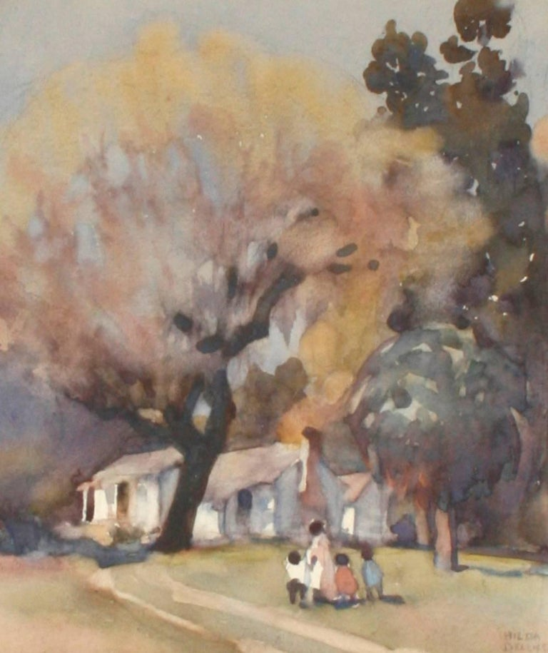 Pair of Framed Watercolors by Hilda Belcher, 'American/Georgia, 1881-1963' In Good Condition For Sale In valatie, NY