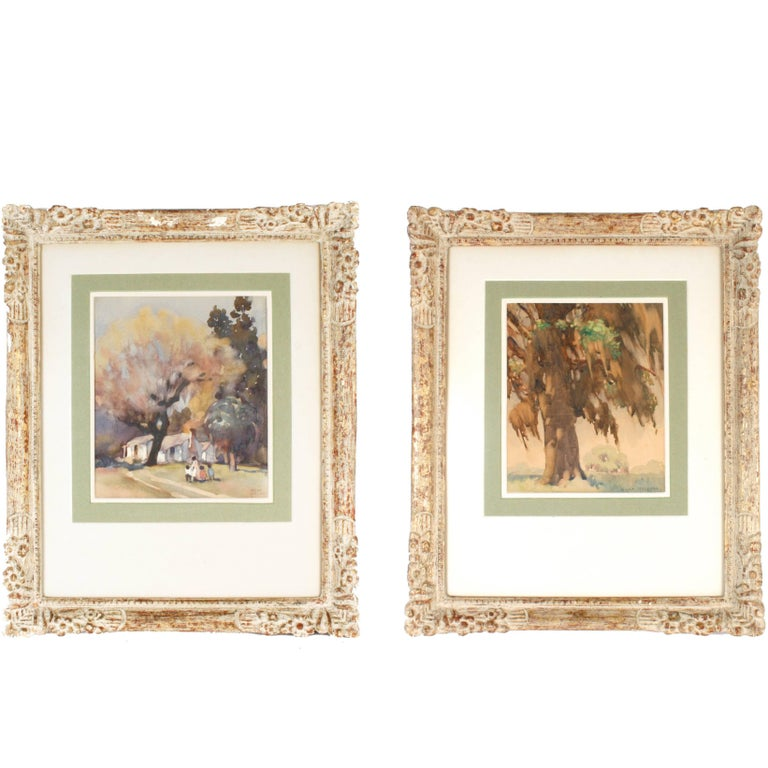Pair of Framed Watercolors by Hilda Belcher, 'American/Georgia, 1881-1963' For Sale