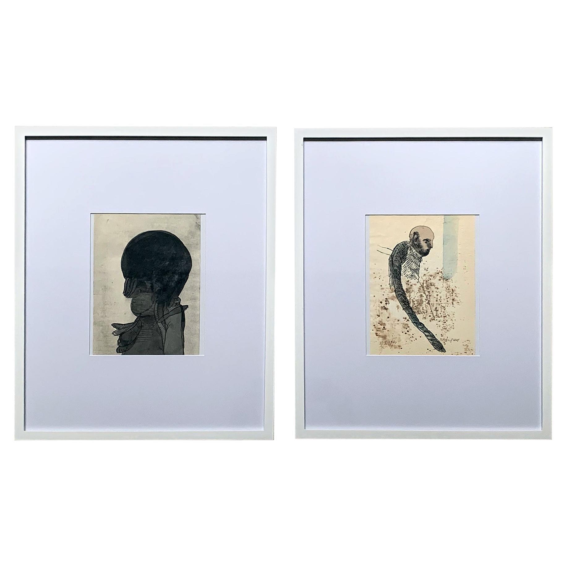 Pair of Framed Work on Paper by Jose Luis Cuevas