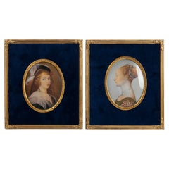 Pair of Frames, Gold Bronze Mounting, Velvet and Hand Painting, 19th Century