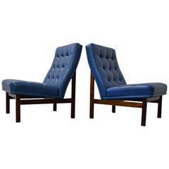 Pair of France & Daverkosen Rosewood Slipper Lounge Chairs