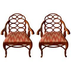 Pair of Frances Elkins Style Loop Back Painted Armchairs
