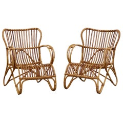 Pair of Franco Albini Inspired Bamboo Chairs by Rohé Noordwolde