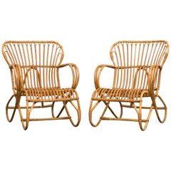 Pair of Franco Albini Inspired Bamboo Lounge Chairs