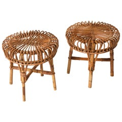 Pair of Franco Albini Midcentury Rattan and Bamboo Italian Stools, 1960s