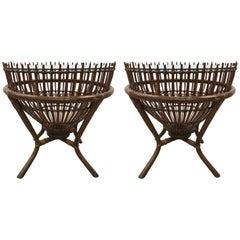 Pair of Franco Albini Style Rattan Fish Trap Basket Tables